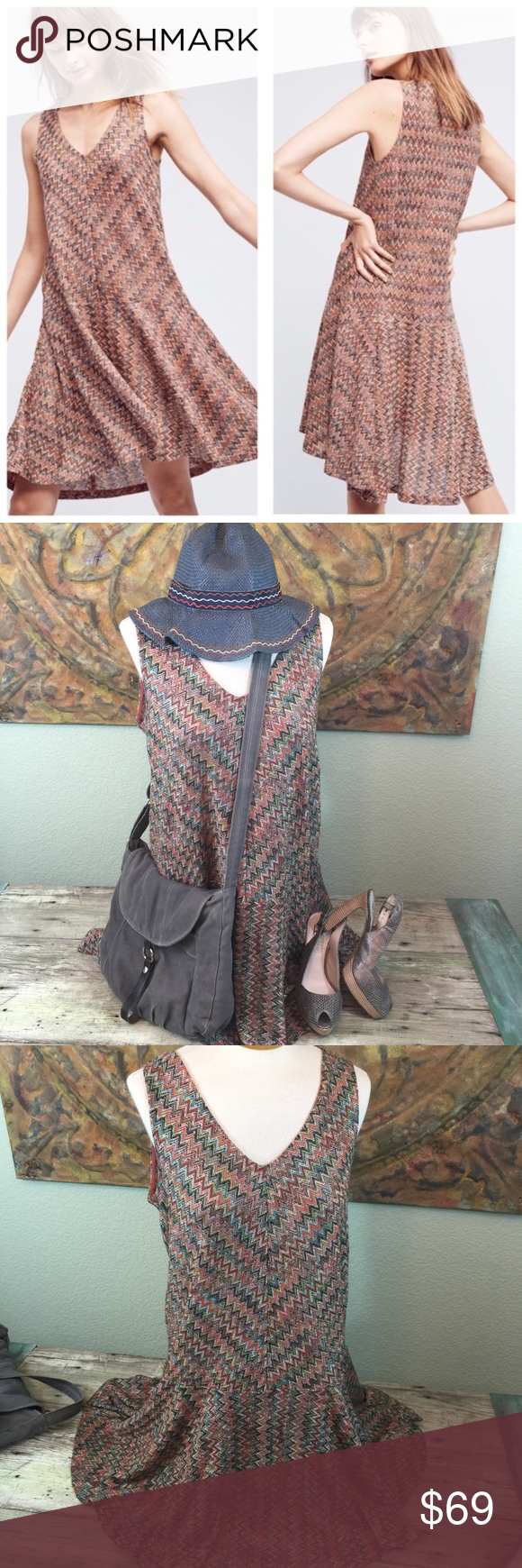 17c9fd91ff0f Maeve Anthropologie Westwater chevron drop waist Anthropologie brand Maeve  dress, chevron knit with a drop