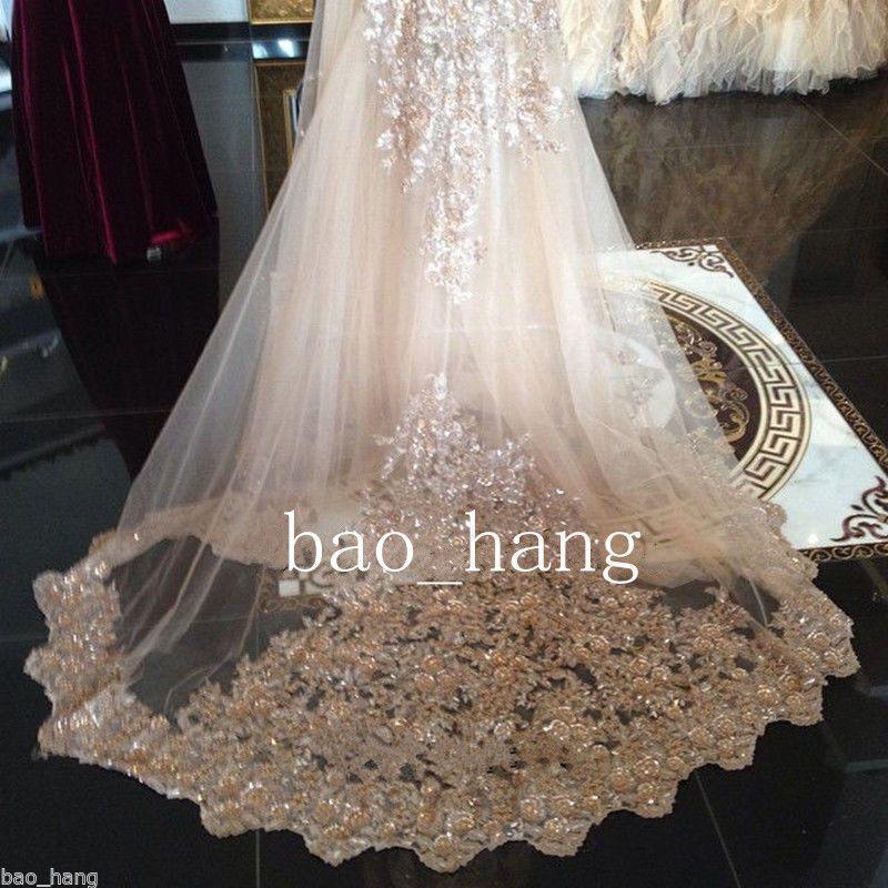 Champagne Bling Sequins Wedding Veils Cathedral Bridal Veil Applique Comb