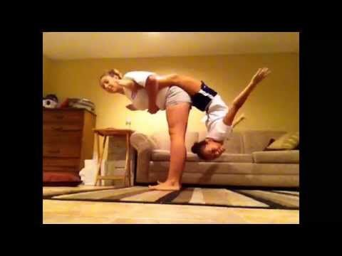 2 Person Acro Stunts Youtube Partner Yoga Poses Yoga Challenge Poses Stunts