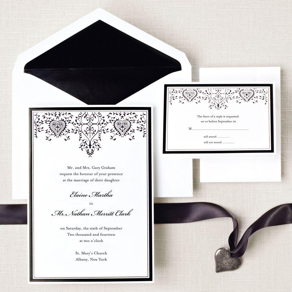 Filigree Hearts Wedding Invitation | #exclusivelyweddings ...