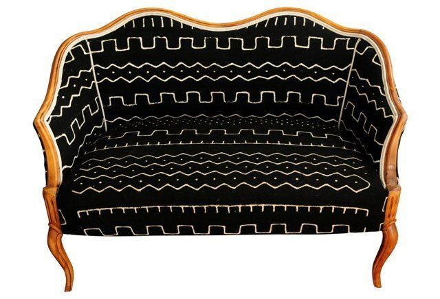 Settee W Black Ivory Mud Cloth African Inspired Pinterest