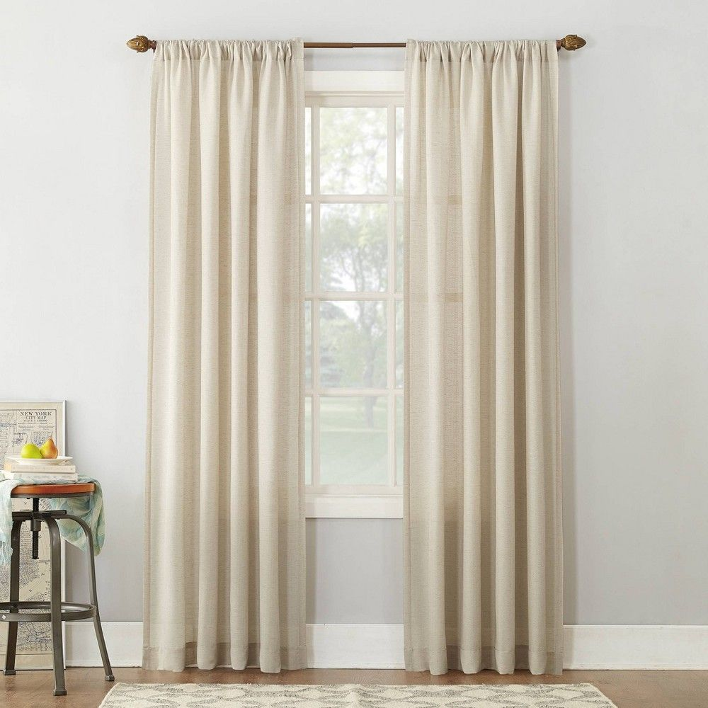 95 X54 Linen Blend Textured Sheer Rod Pocket Window Curtain Panel Ivory No 918 In 2021 Rod Pocket Curtain Panels Panel Curtains Rod Pocket Curtains What are rod pocket curtains