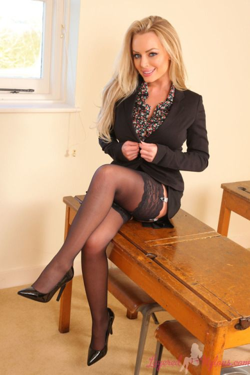 sexy blonde office