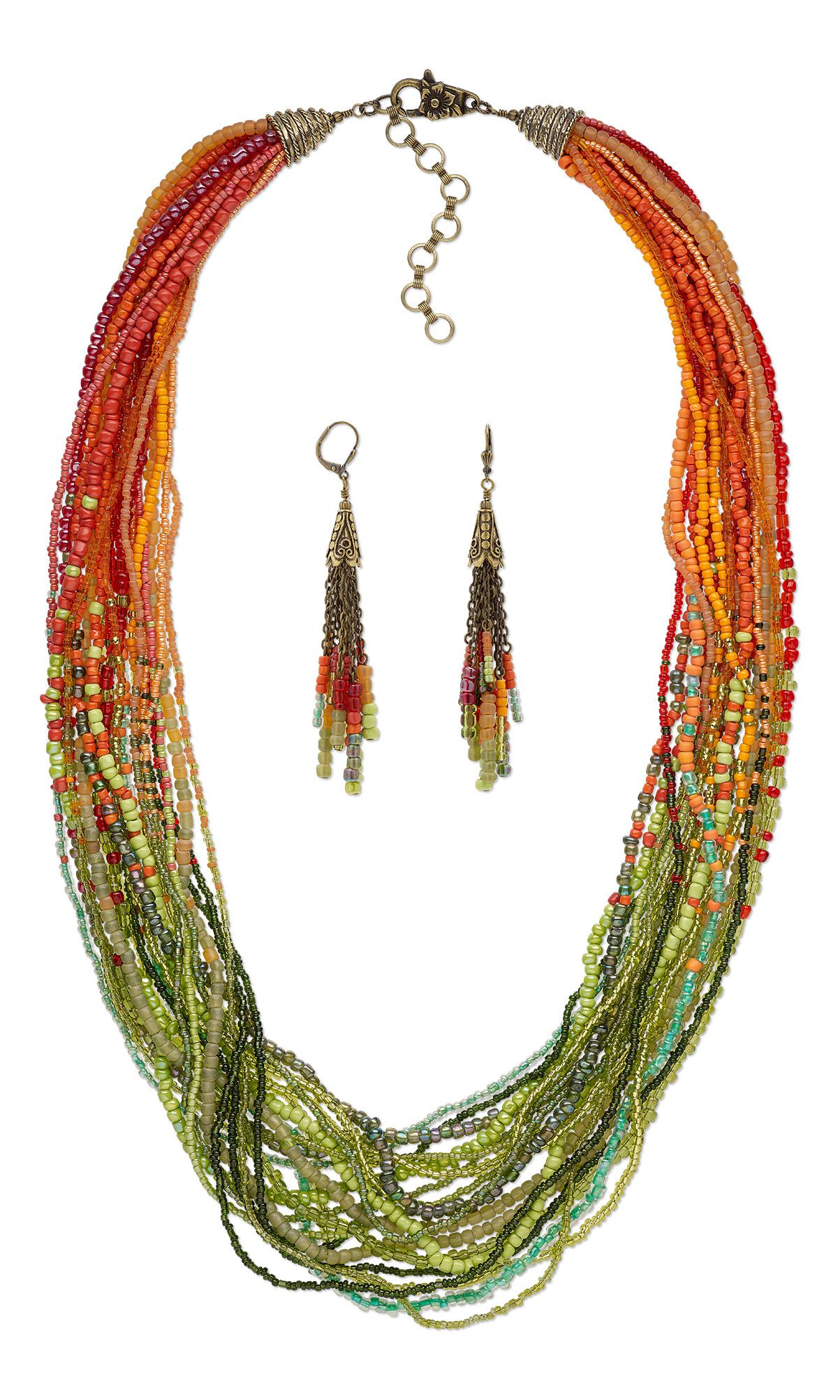 Jewelry Design - Multi-Strand Necklace and Earring Set with Seed ...