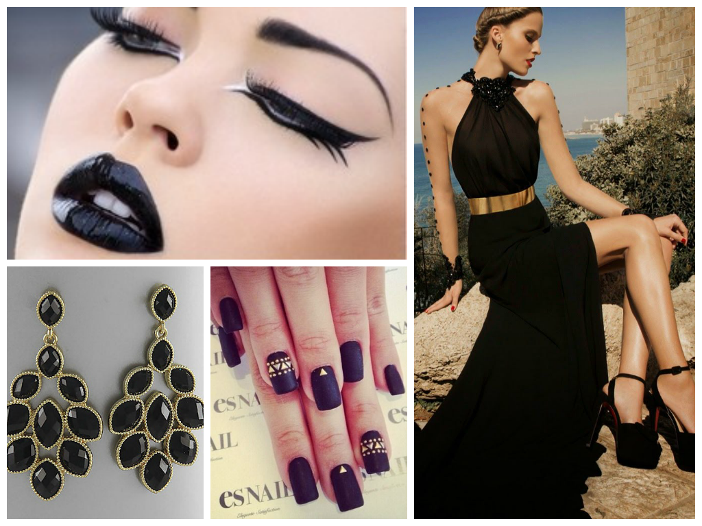 Black Beauty Inspiration Board #black #makeup #fashion #nails #jewelry