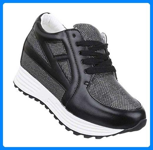 Streetwear Freizeitschuhe Schwarz Schuhe Sneaker Damen Sportschuhe YbyfIgv76