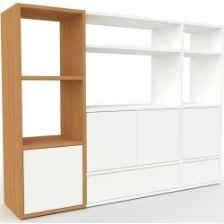 Photo of Regalsystem aus Eichenholz – Regalsystem: weiße Schubladen und weiße Türen – hochwertige Materialien – 154