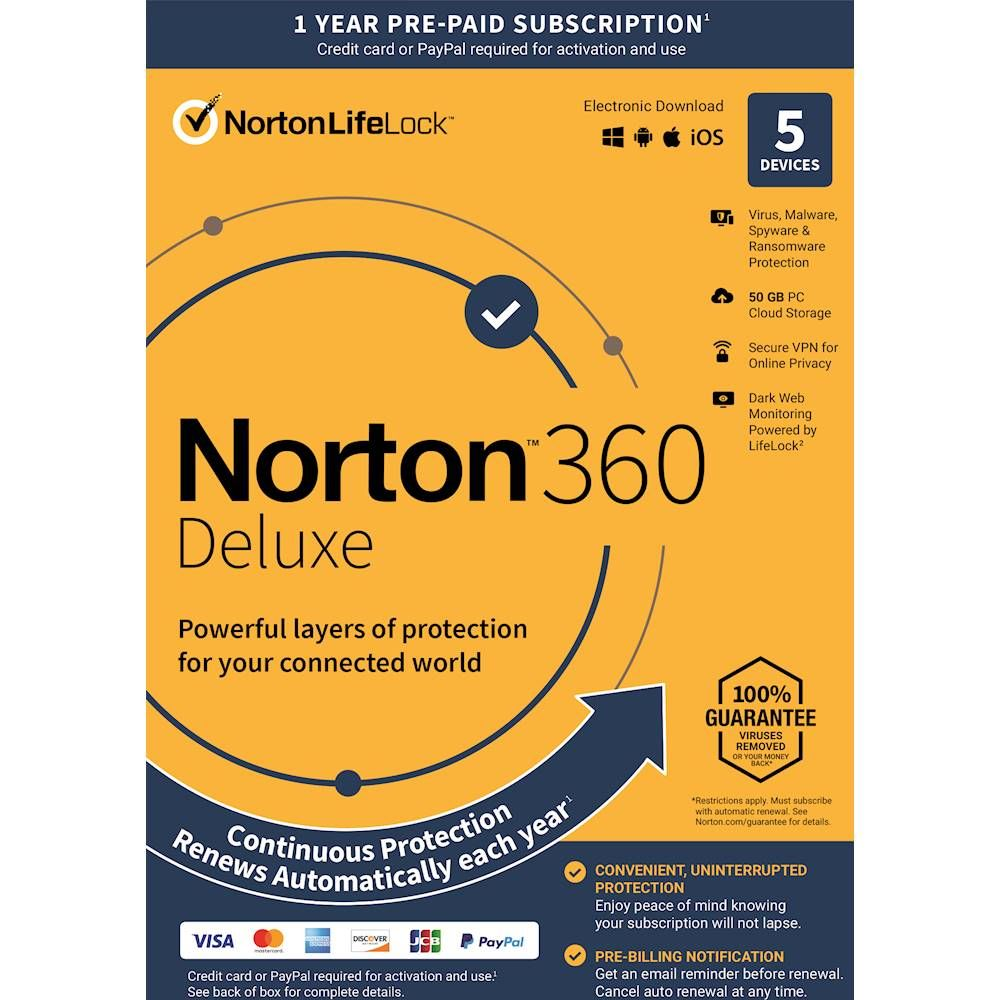 Norton 360 Deluxe (5Devices) (1Year Subscription with