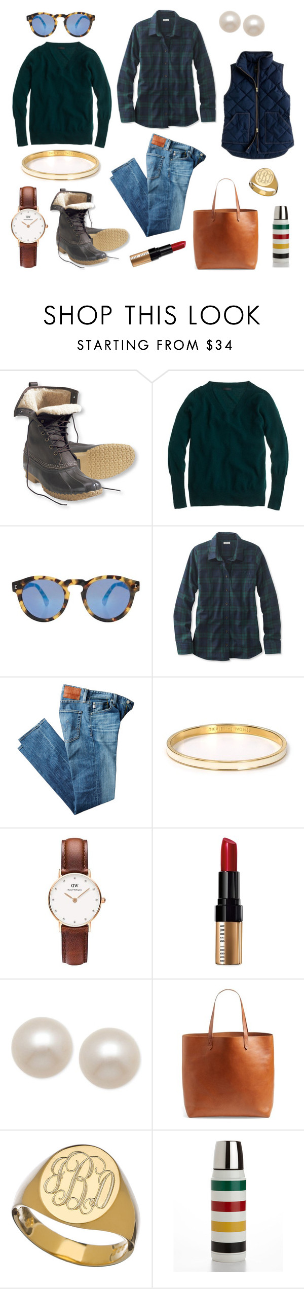 """Plaid, Flannel, Stripes and Bean Boots"" by pinkngreennblack ❤ liked on Polyvore featuring L.L.Bean, J.Crew, Illesteva, AG Adriano Goldschmied, Kate Spade, Daniel Wellington, Bobbi Brown Cosmetics, Honora, Madewell and Sarah Chloe"