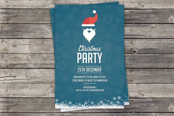 Christmas Party Invitation Flyer by SmmrDesign on @creativemarket - Invitation Flyer Template