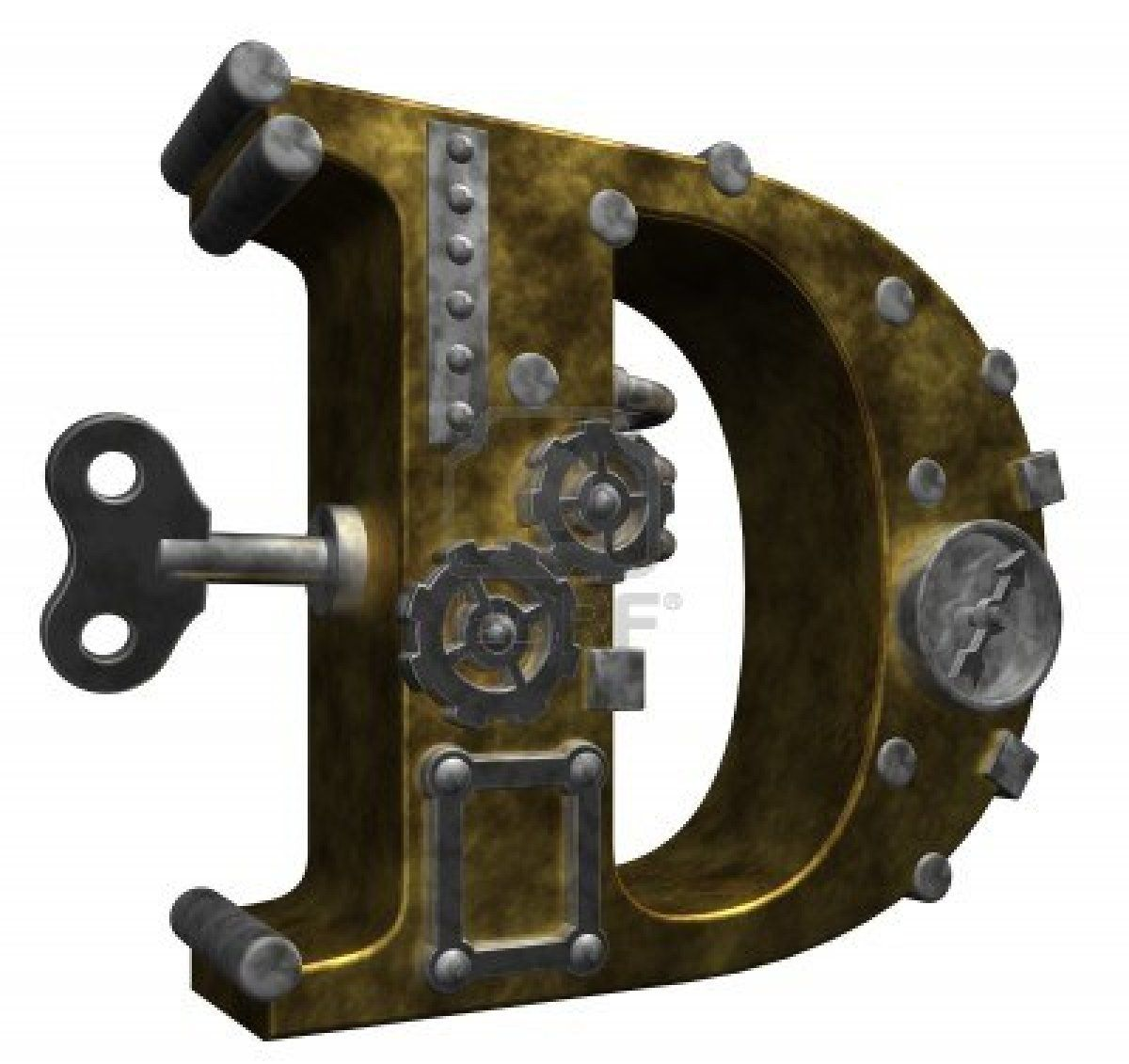 Steampunk Letter D On White Background Shutterstock