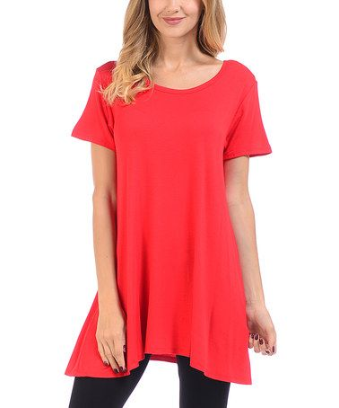 This Red Scoop Neck Swing Tunic is perfect! #zulilyfinds