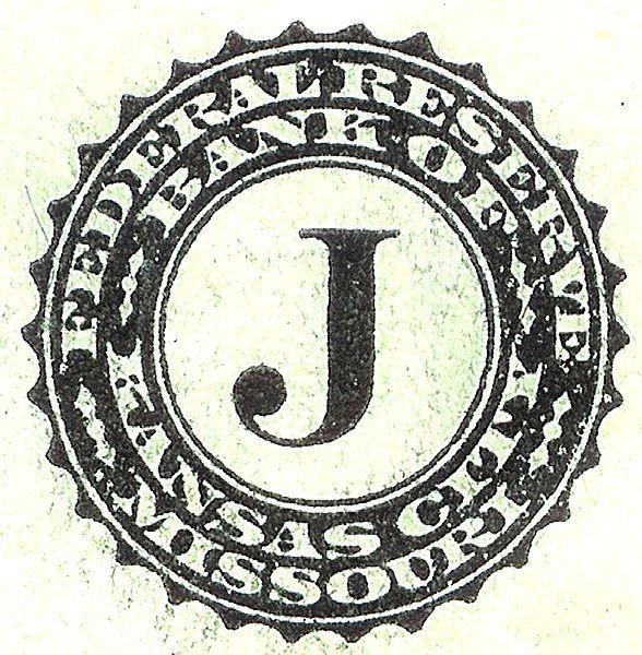 Federal Reserve Bank Of Kansas City J Insignia On Dollar Bill