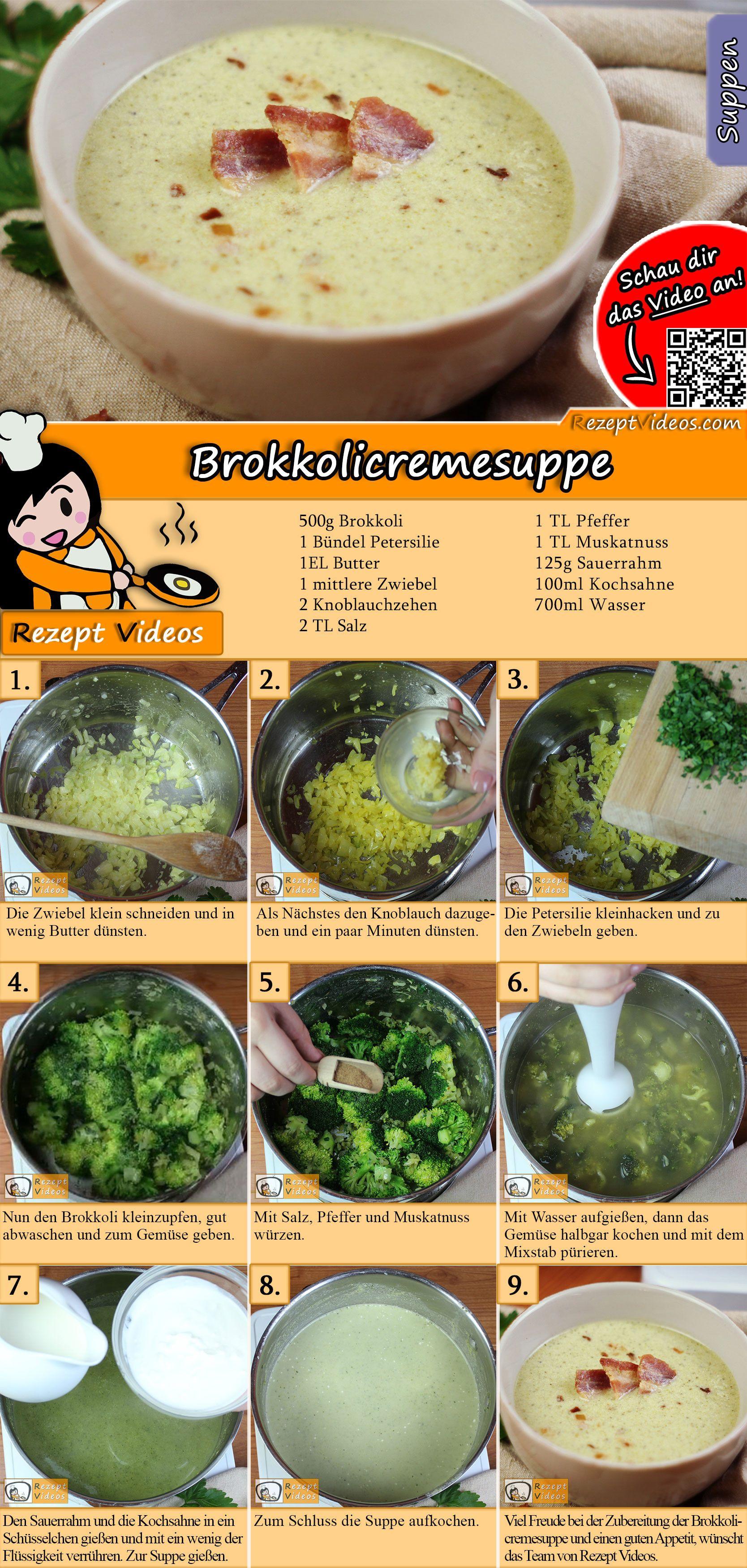 Brokkolicremesuppe Rezept mit Video - Cremesuppen/ Suppenrezepte #gezondeten