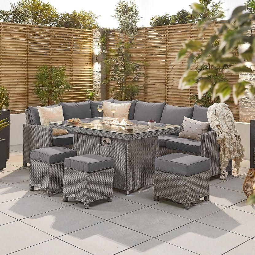 NOVA Ciara Left Hand Corner Dining Set with Fire Pit Table-White Wash PRE ORDER JAN 2022
