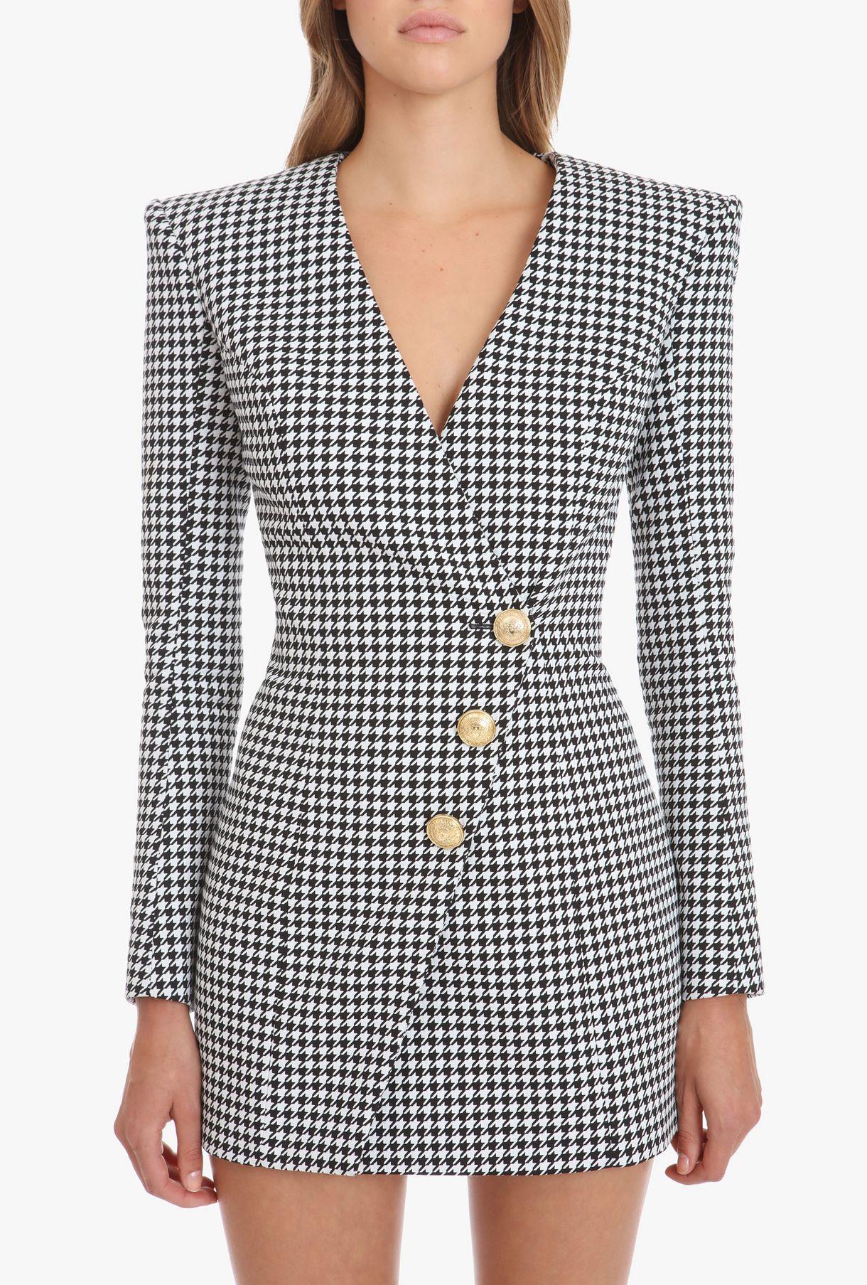 d7e4e605 Balmain - Black & white cache-cœur cotton mini dress | DRESSES in ...