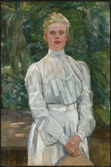 Wilhelm Trübner Portrait of Fräulein Maria Wüsthoff/Dame in Weiss; Porträit des Fräulein W. 1901