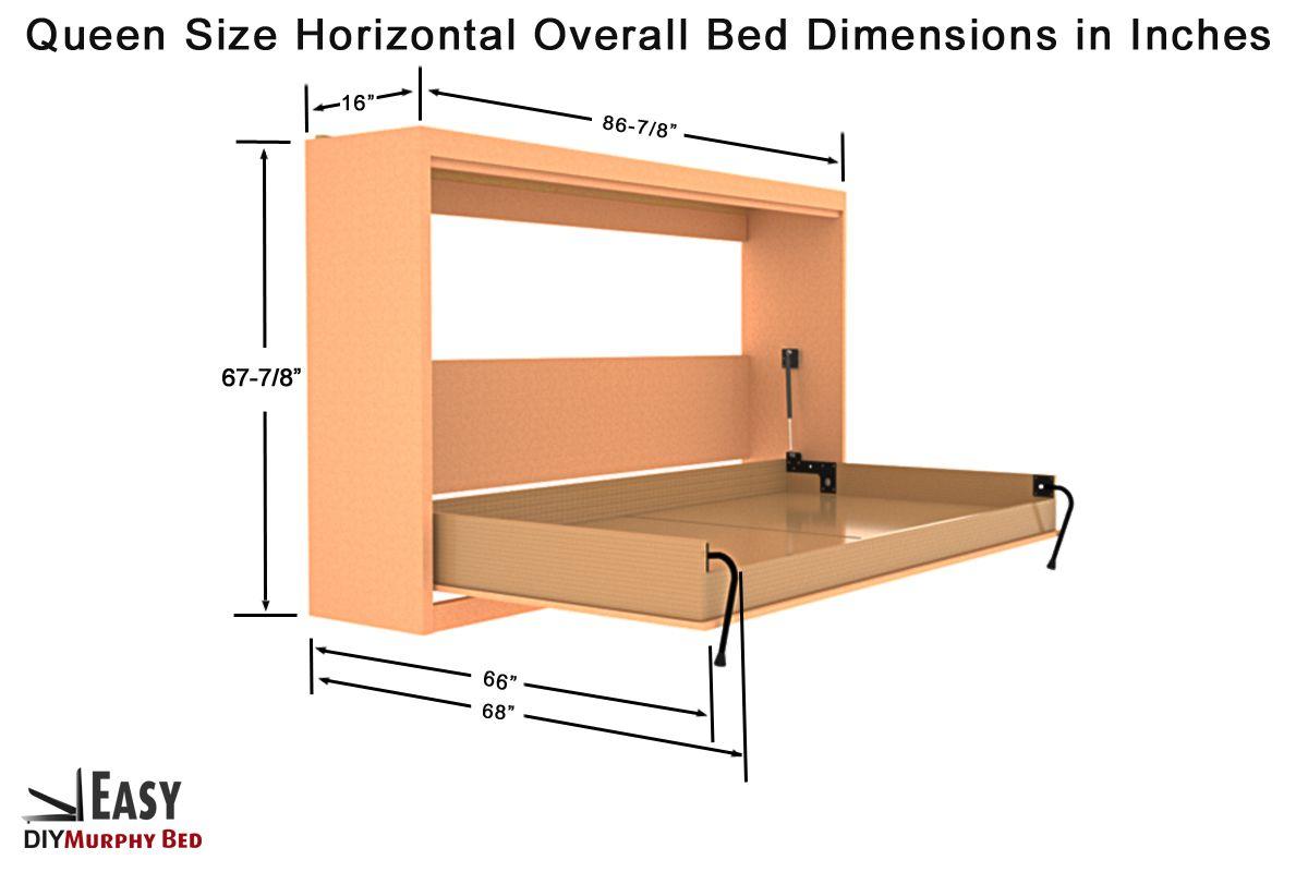 Queen Size Easy Diy Murphy Wall Bed Hardware Kit Horizontal
