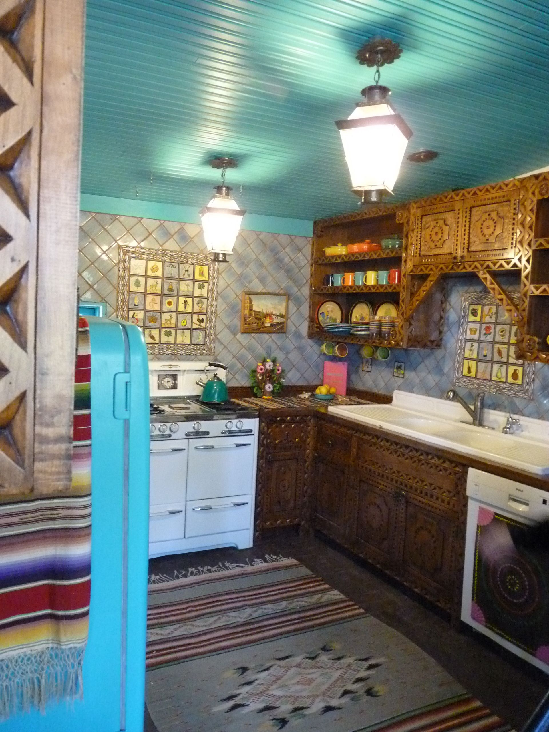 Spanish Colonial Revival Door Pattern New Kitchen From Carvedcabinet Com With Talavera Tile And Folk Art Fine Finishe Hacienda Style Reface Cabinet Refacing