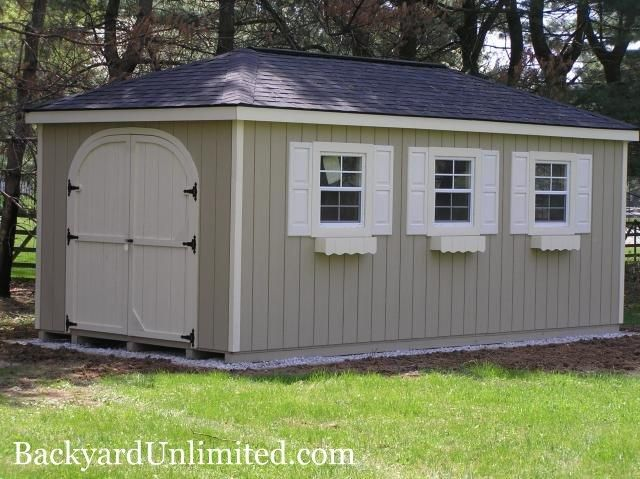 10 X16 Hip Roof Shed With Rounded Doors Shutters Flower Boxes And Ridge Vent Http Www Backyardunlimited Com Sheds H Flat Roof Shed Hip Roof Modern Roofing