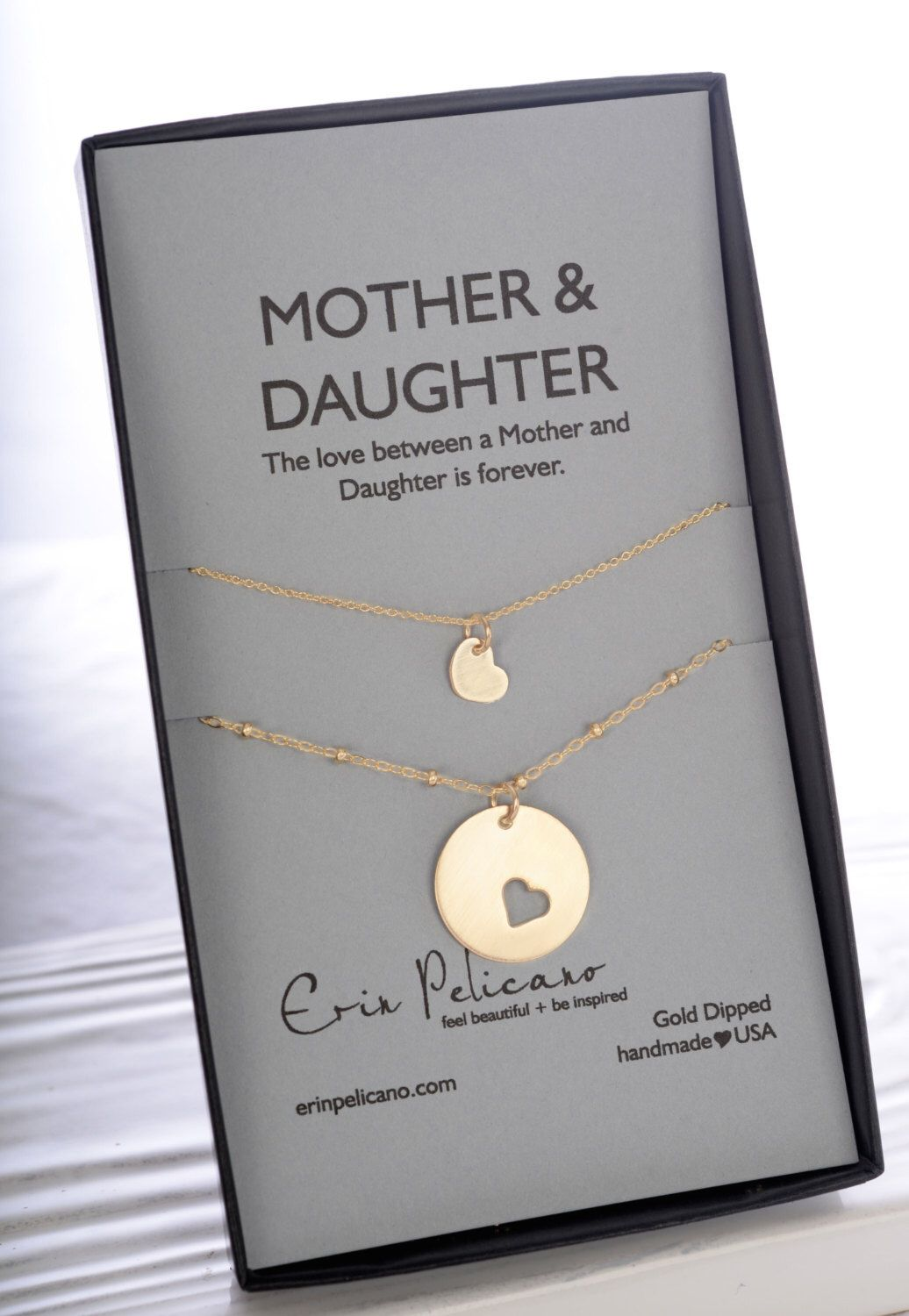 Mother Daughter Necklace Set Mom Jewelry Of The Bride Gift Wedding Birthday Push Present Adoption