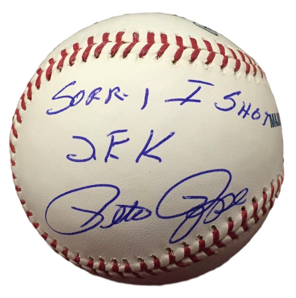 Pete Rose Phillies Signed Mlb Baseball Sorry I Shot J F K Jsa Itp Phillies Pete Rose Mlb Baseball
