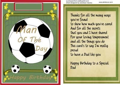Topper With Incert and verse Man of the Day  on Craftsuprint - Add To Basket!