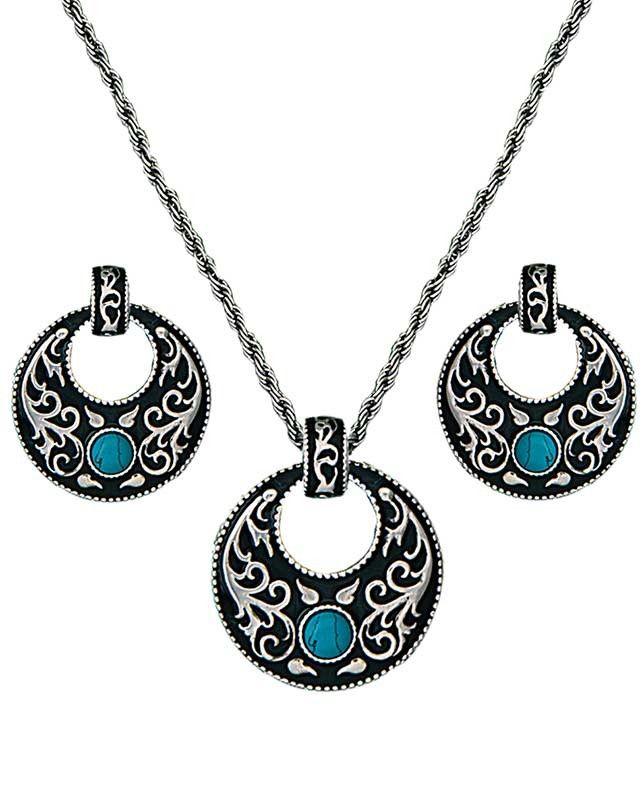 Turquoise Hoop Jewelry Set #WesternJewelry #WesternAccessories #WesternFashion #WesternStyle #CowgirlChic #WesternChic