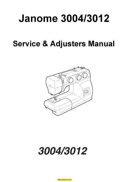 Janome 3004-3012 Sewing Machine Service-Adjusters Manual