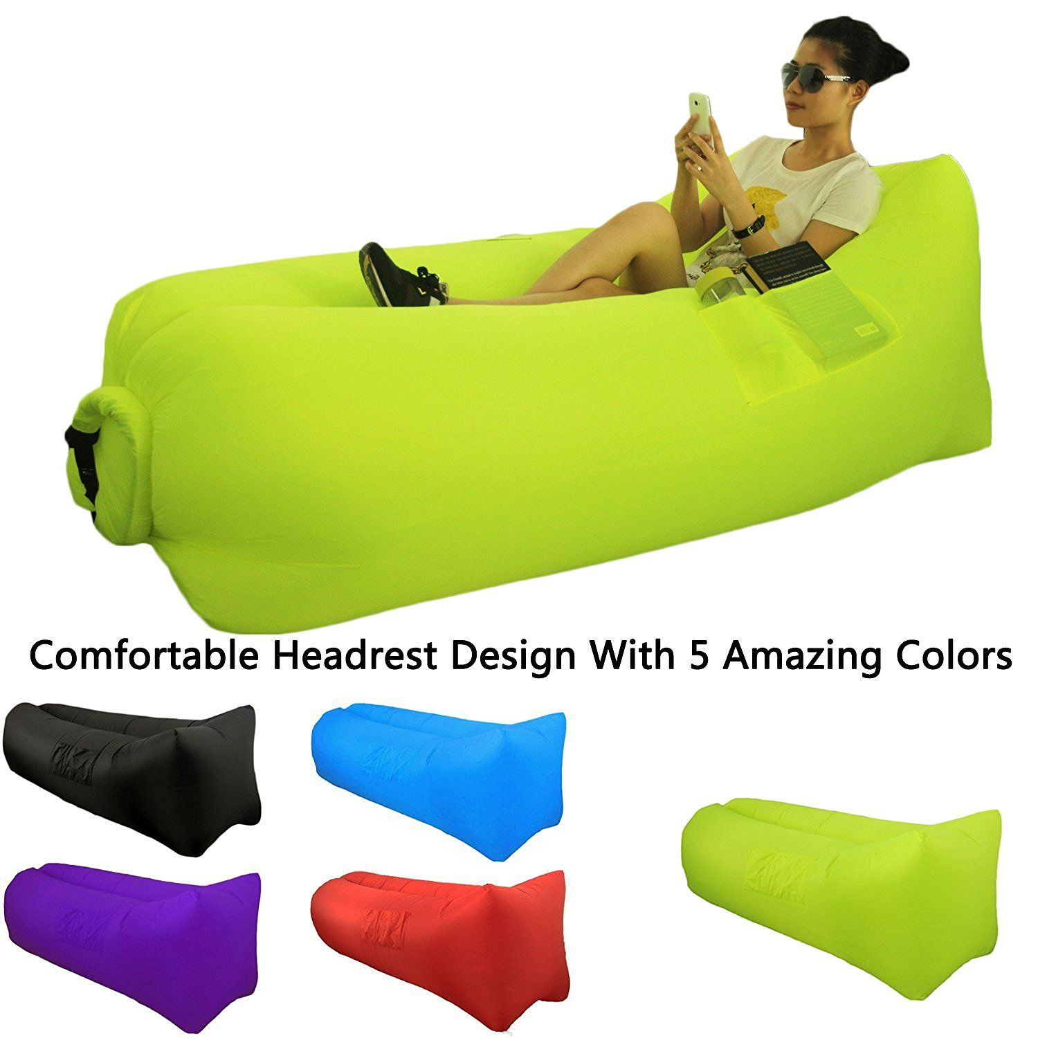 Camping Accessories Great Home Inflatable Lounger Sofa Air Sleeping Bag Beach Lounge Chair Bean Bag Beach Lounge Chair Inflatable Lounger Camping Accessories