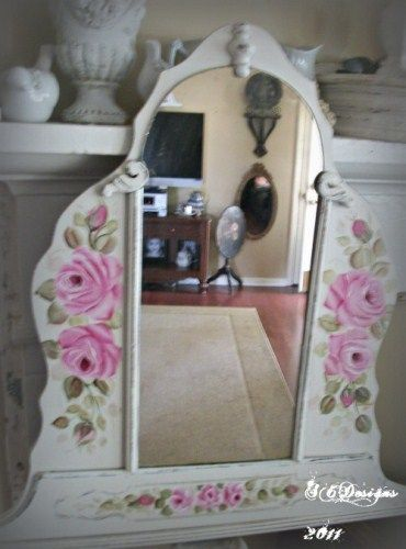 Shabby cottage chic pink hand painted roses on vintage mirror ...