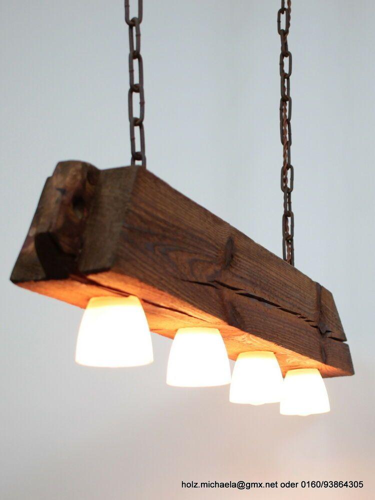 Hangelampe Lampe Aus Altem Holzbalken Inkl Leds Dimmbar Deckenlampe Holz Lampe Holzbalken Lampe