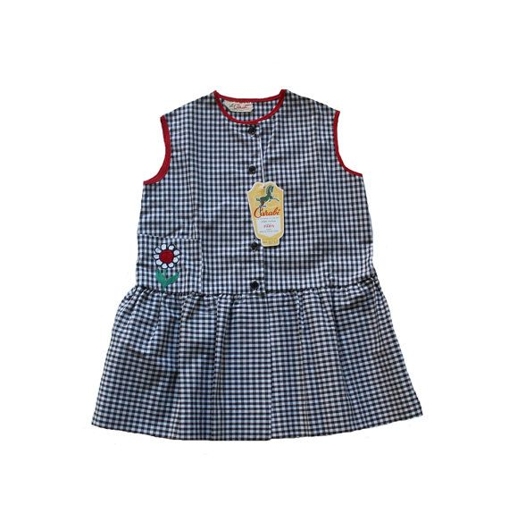 VINTAGE 60's / enfant / robe / coton vichy noir et blanc / broderie fleur / stock ancien neuf / taille 4/5 ans