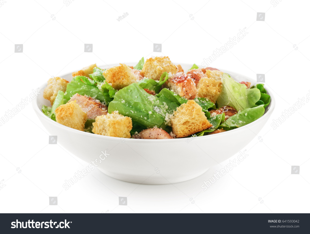 Caesar Salad On White Background Healthy Stock Photo Edit Now 641593042 Caesar Salad Healthy White Background