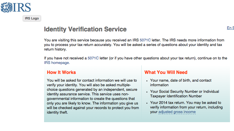 Recipients of IRS Identity Verification Letters (Letter