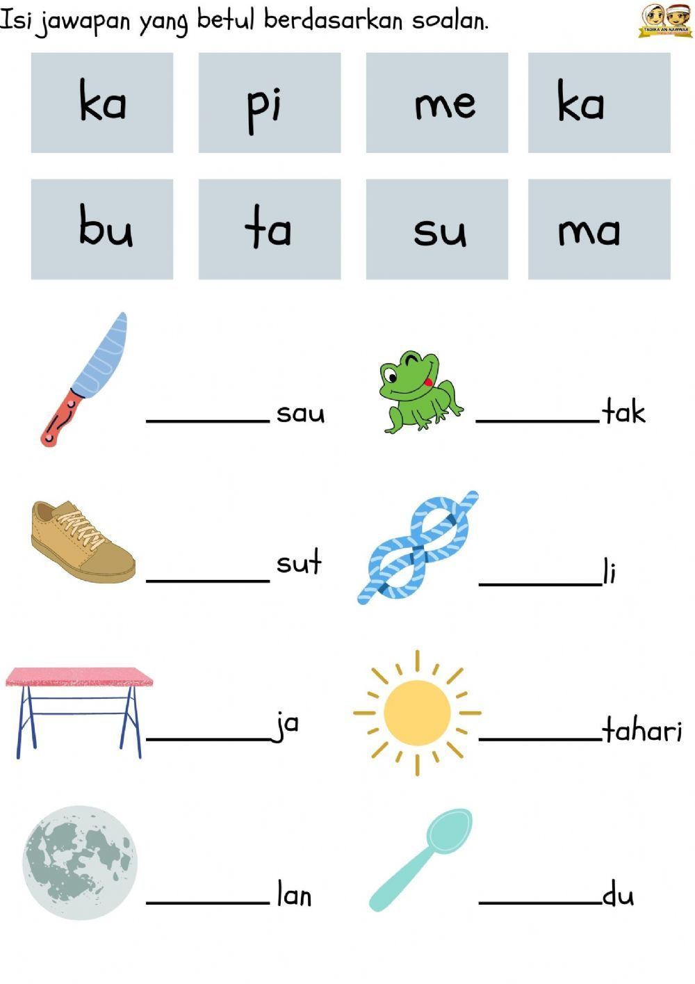 Bm Suku Kata 2 Interactive Worksheet Preschool Activities Printable Kids Worksheets Preschool Kindergarten Math Worksheets Addition
