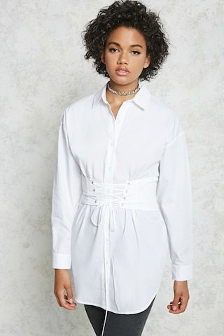 a woven tunic featuring an attached corset with laceup