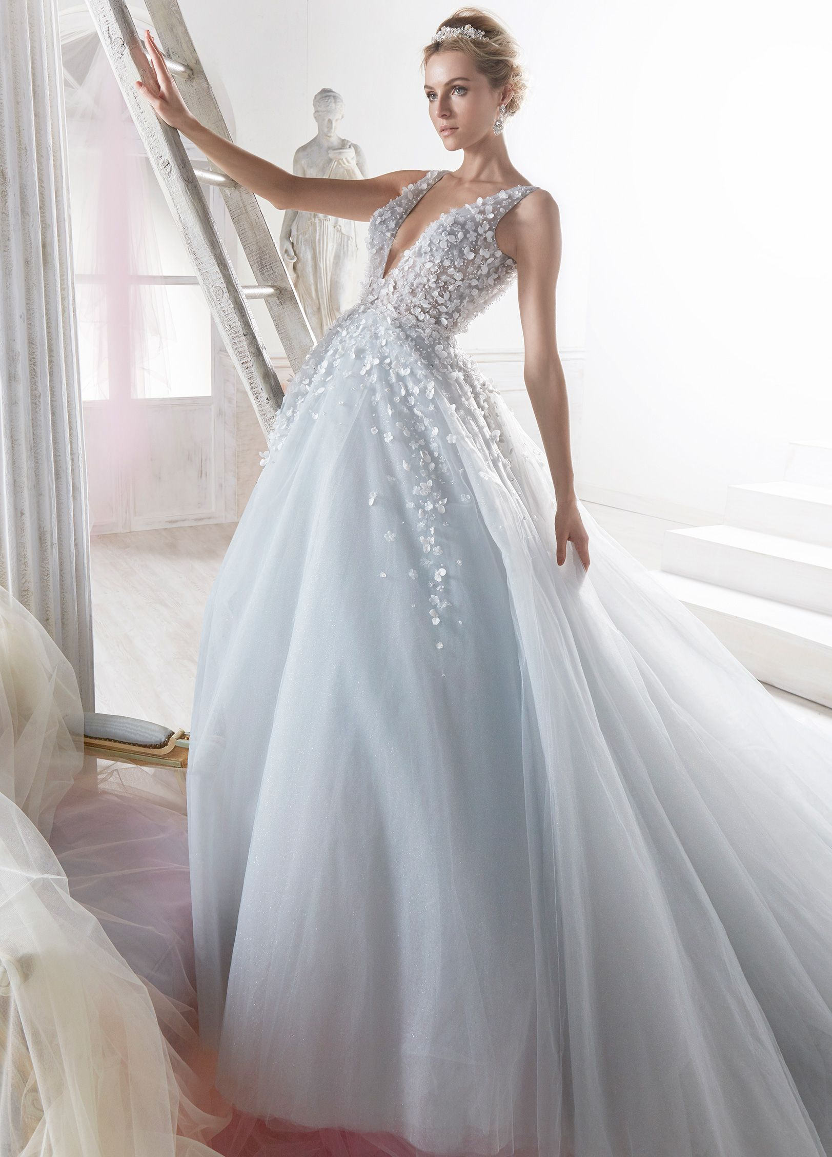 Nicole majestic light blue princess dress in tulle and glitter tulle ...