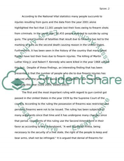 Gun Control  Essay Example  Essay Examples    Essay
