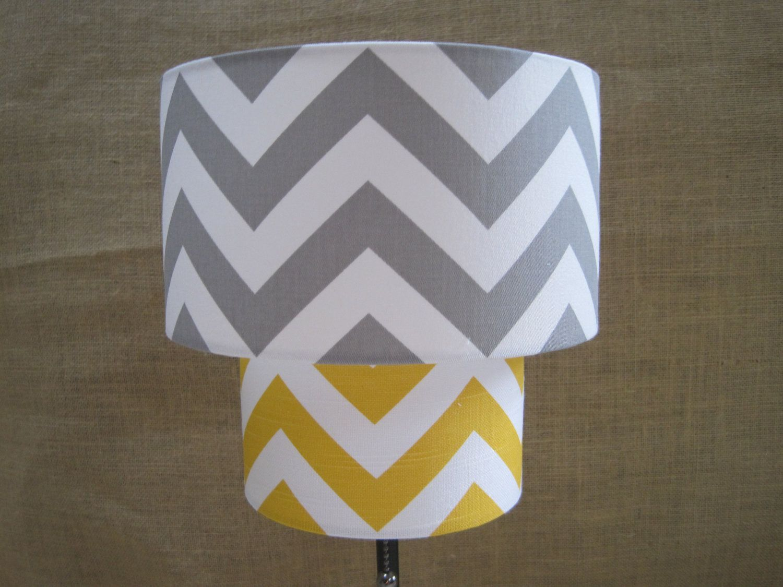 Lamp shade chevron zig zag drum lampshade 2 tier in mustard yellow lamp shade chevron zig zag drum lampshade 2 tier in mustard yellow and gray grey aloadofball Choice Image