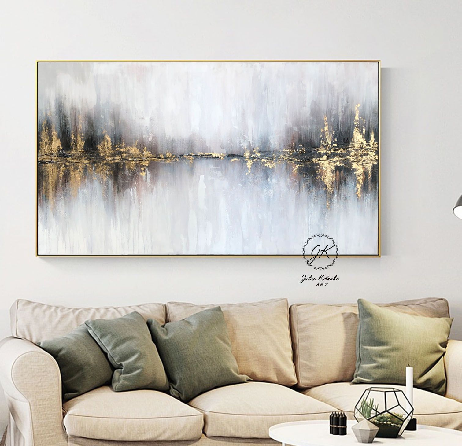 Landscape Abstract Acrylic Painting Gold Leaf Painting Living