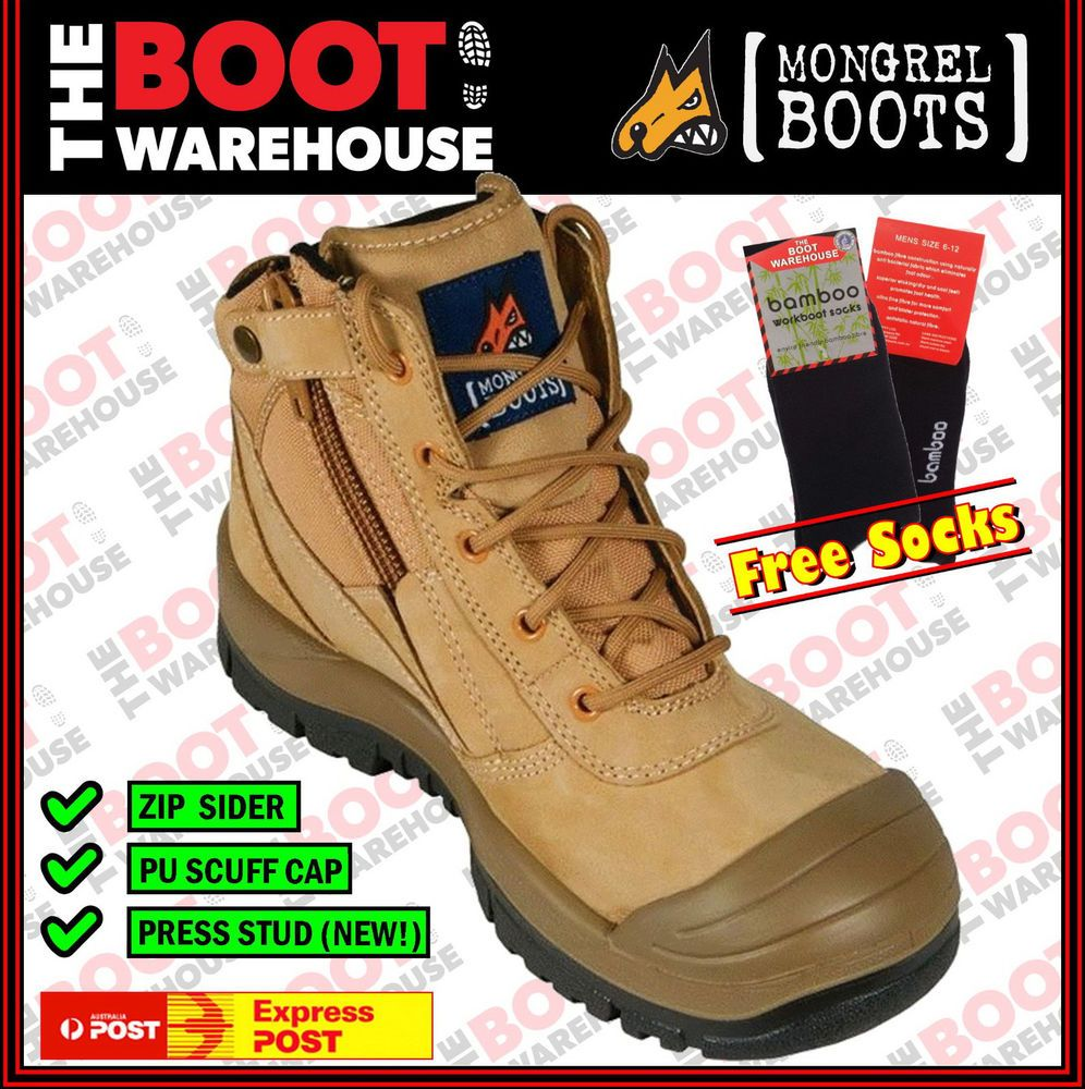 Mongrel 461050 Work Boots. Steel Toe Safety. ZipSider
