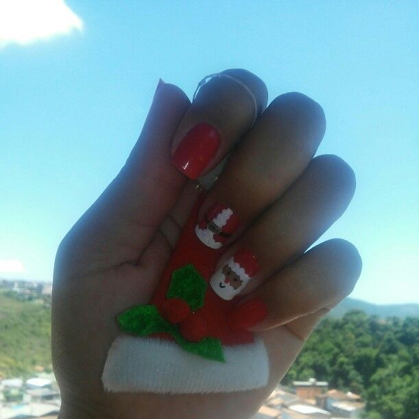 Unhas Decoradas Natal  Red Papai Noel