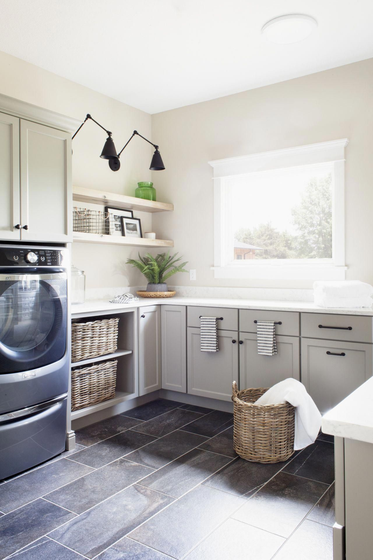 Lakeview Home Laundry Room Reveal Chelsea Gray Cabinets By Benjamin Moore Black Wall Sconces Laundry Room Design Laundry Room Decor Diy Laundry Room Decor