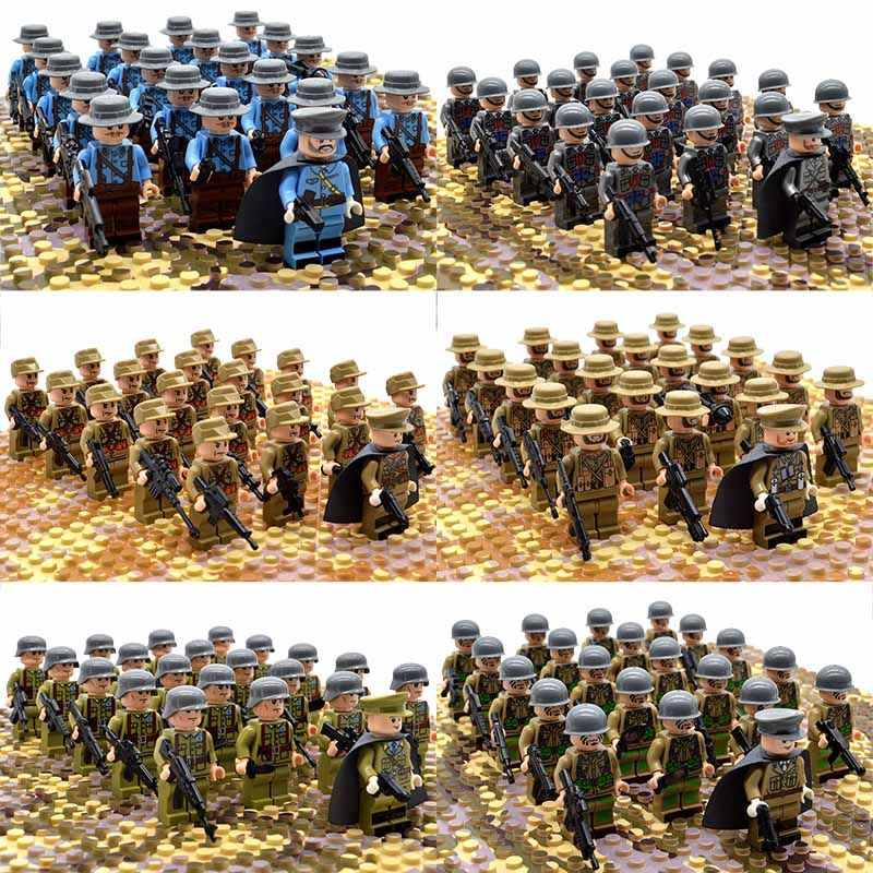21pcs//set Custom WW2 Military Soldiers France US Britain Army Building Block toy