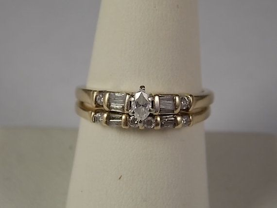1980s Zales Diamond Wedding Ring Set .62Ctw By Estatejewelryshop, $375.00