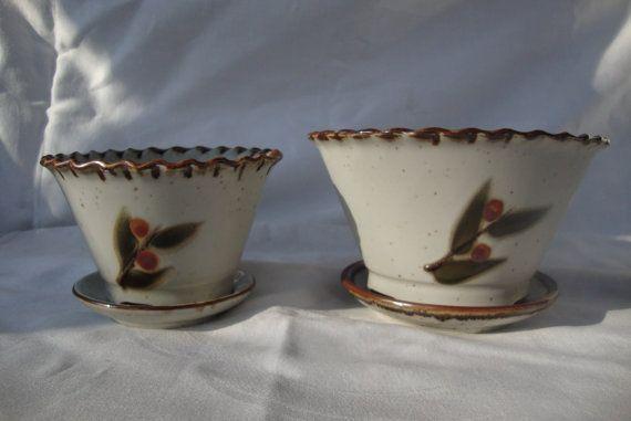 Pair of Bittersweet Otagiri Planters with water trays by DamenArt