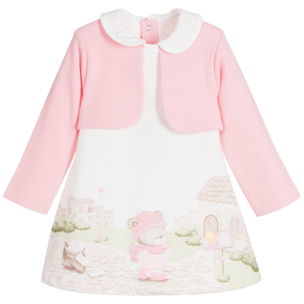 afe8c854b Mayoral Newborn - Baby Girls Pink Cotton Cardigan Dress ...