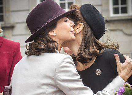 Princess Marie greeting Crown Princess Mary at the opening of Parliament in Copenhagen