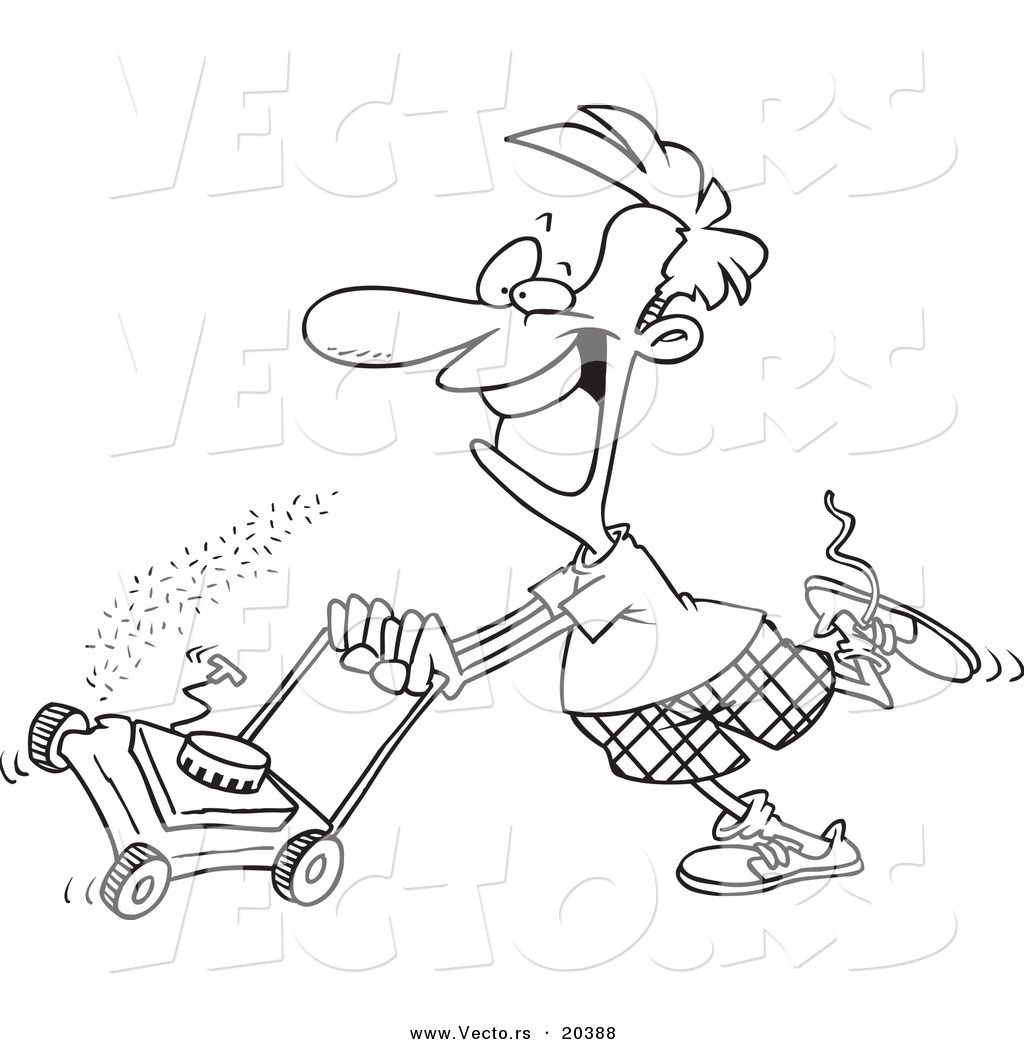 Vector of a Cartoon Man Mowing His Lawn - Coloring Page Outline ...